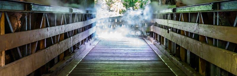 Drewniana chodząca ścieżka przez mglistej jamy, straszna horror sceneria, Halloween tło obraz stock