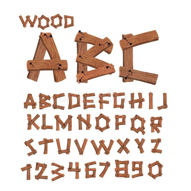 Drewniana chrzcielnica Stary deski abecadło Drewniane deski z gwoździa alphabe ilustracji