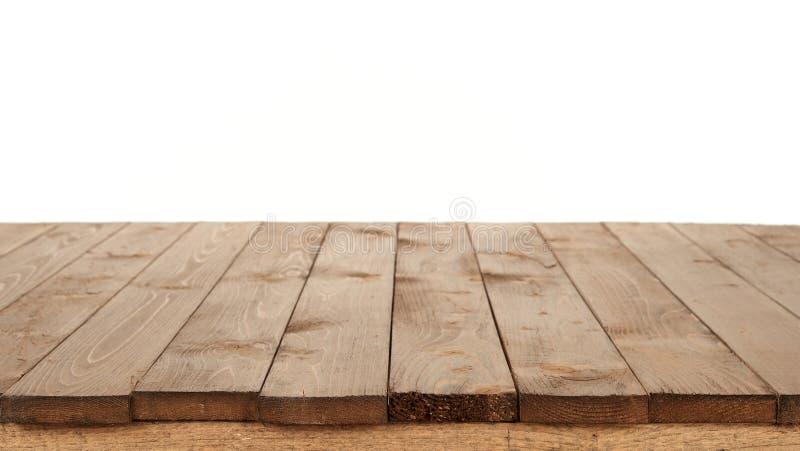 Drewniana deska dla tła lub tekstura odizolowywająca na bielu zdjęcia stock