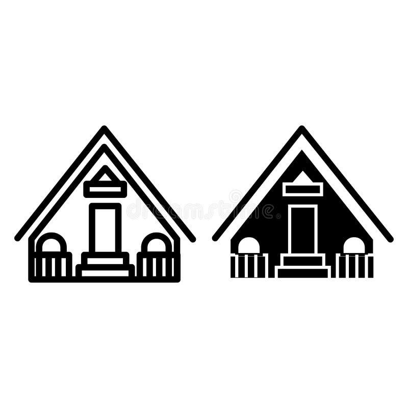 Drewniana dom linia i glif ikona Chałupy wektorowa ilustracja odizolowywająca na bielu Domowy fasadowy konturu stylu projekt ilustracja wektor