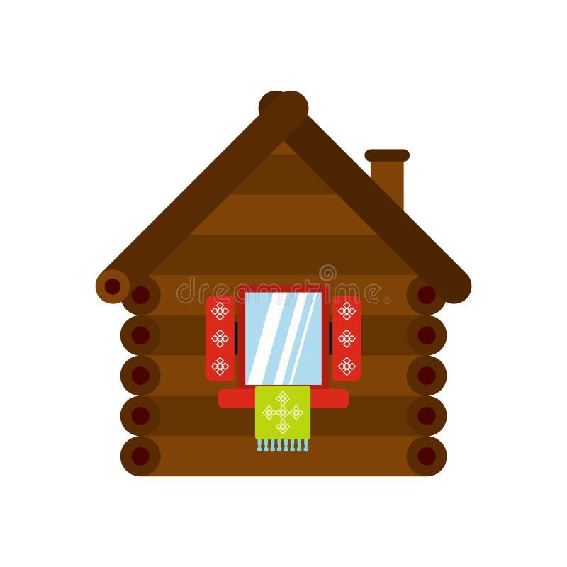 Drewniana domowa ikona, mieszkanie styl ilustracji
