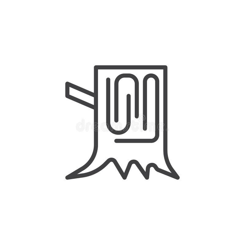 Drewniana drzewnego fiszorka linii ikona ilustracja wektor
