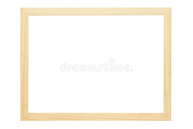 Drewniana fotografii rama z pustą przestrzenią odizolowywającą na bielu fotografia royalty free