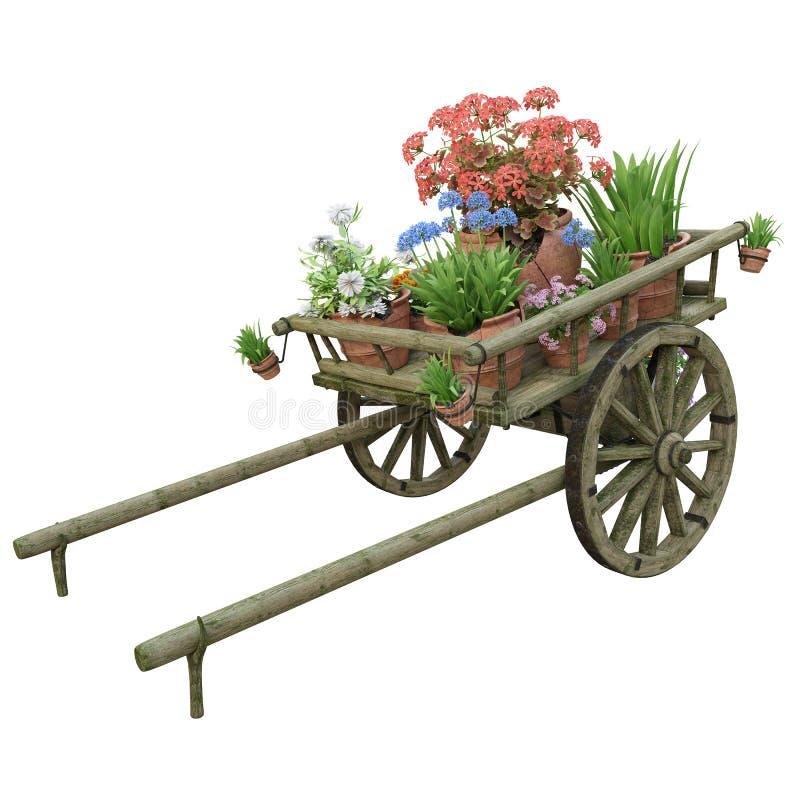 Drewniana fura i kwiatów garnki royalty ilustracja