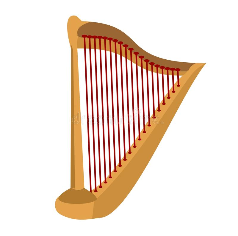 Drewniana harfa na białym tle Klasyczny smyczkowy instrument muzyczny ilustracja wektor