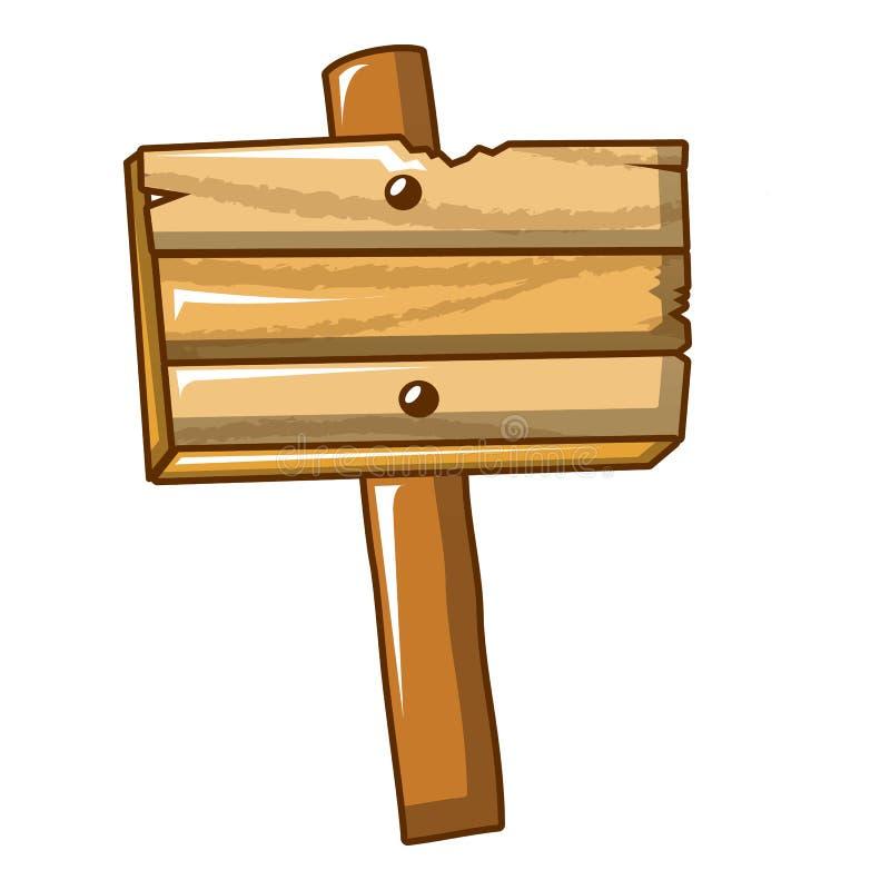 Drewniana informacja znaka ikona, kreskówka styl royalty ilustracja