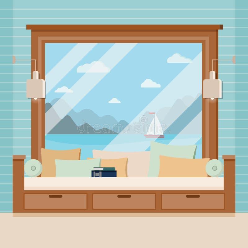 Drewniana izbowa nadokienna rama z książką i poduszki w kreskówki mieszkaniu projektujemy royalty ilustracja