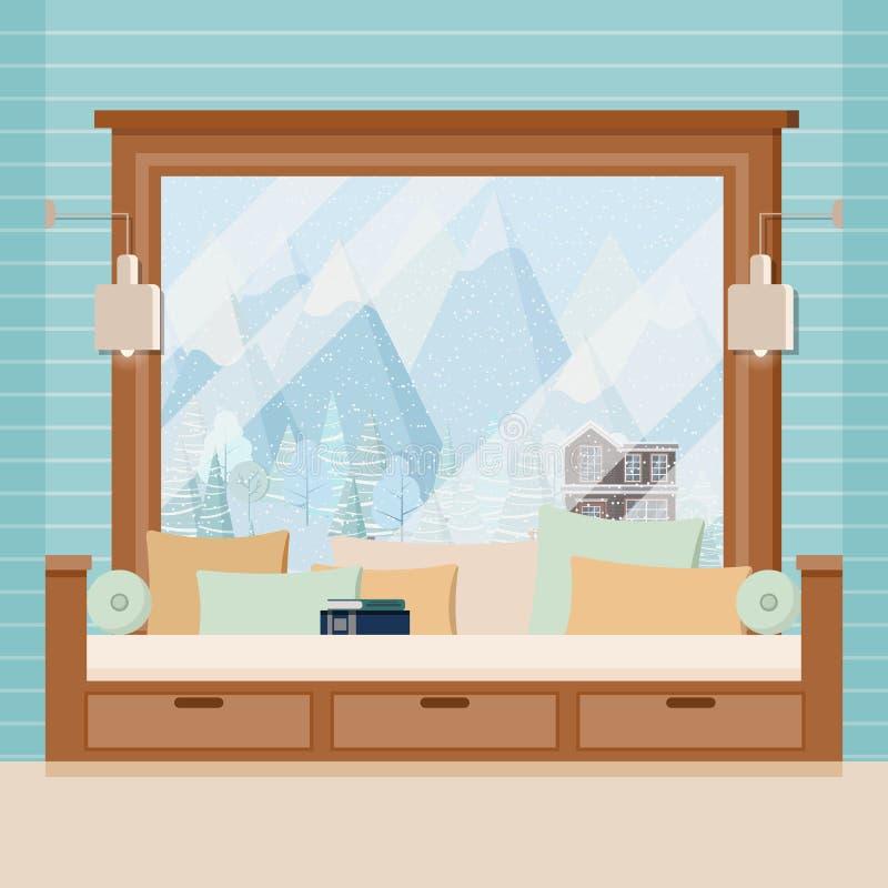 Drewniana izbowa nadokienna rama z lampami, kanapa, poduszki i książka w płaskiej kreskówce, projektujemy royalty ilustracja