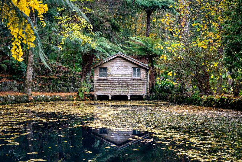 Drewniana kabina w Alfred Nicholas ogródach obrazy stock