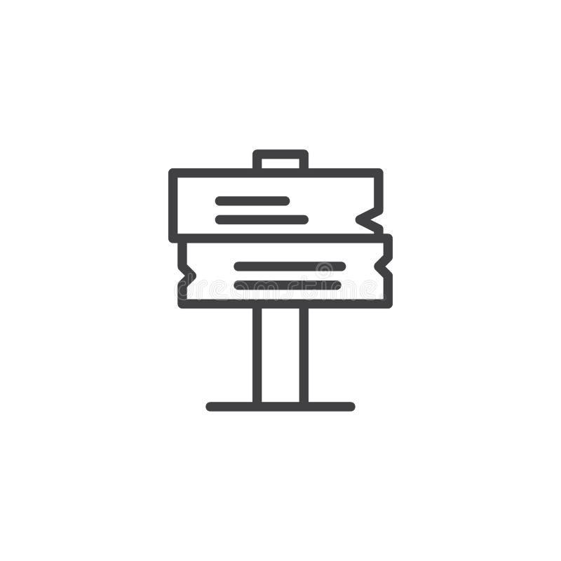 Drewniana kierunkowskaz linii ikona ilustracji