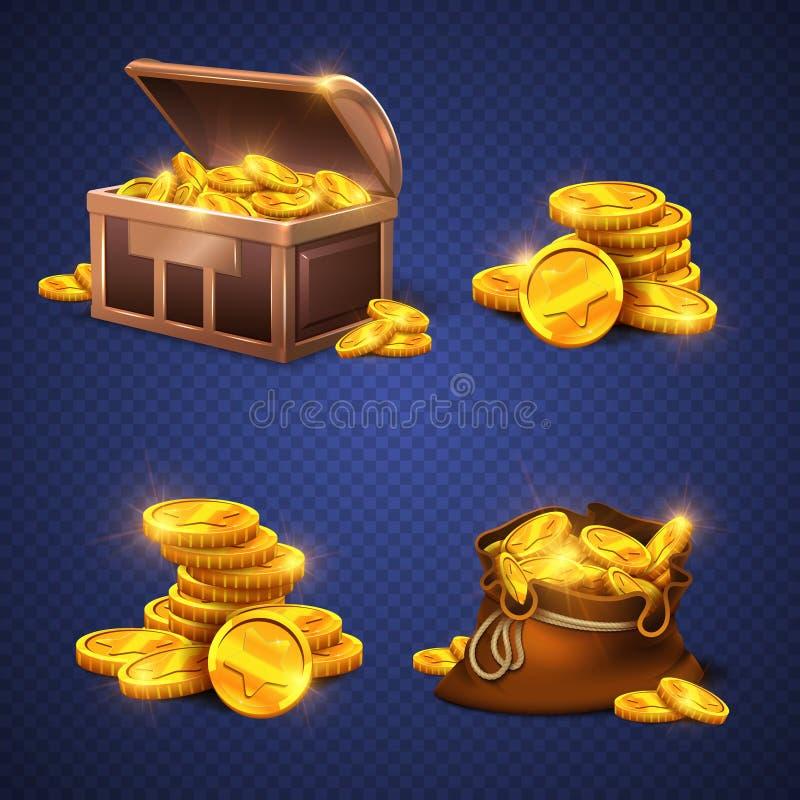Drewniana klatka piersiowa i duża stara torba z złocistymi monetami, pieniądze sterta royalty ilustracja