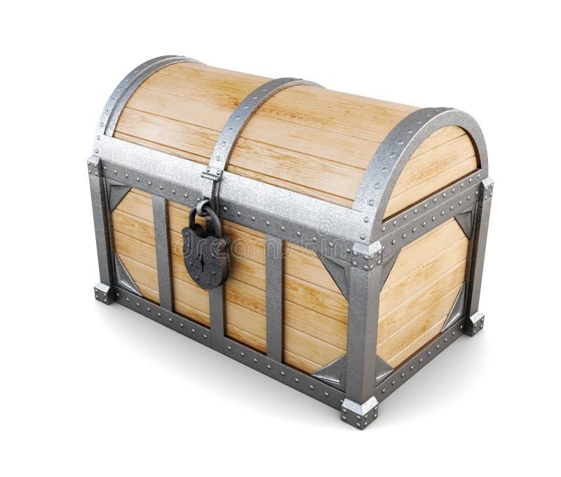 Drewniana klatka piersiowa na białym tle świadczenia 3 d zdjęcia stock