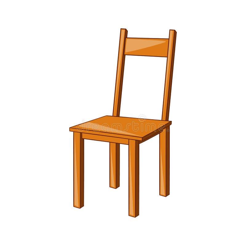Drewniana krzesło ikona, kreskówka styl royalty ilustracja
