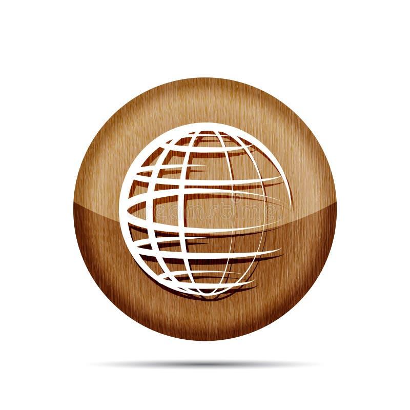 drewniana kuli ziemskiej planety ikona ilustracja wektor