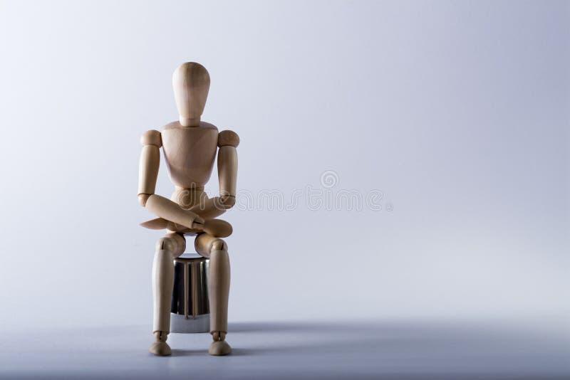 Drewniana lala w studiu fotografia stock
