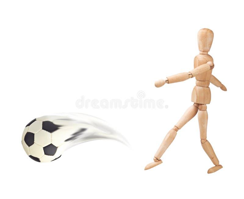 drewniana lali balowa piłka nożna fotografia stock