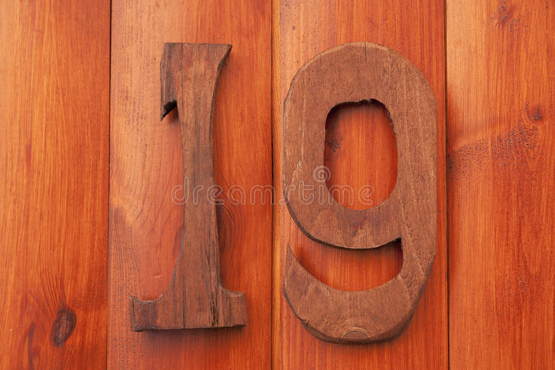 Drewniana liczba Dziewiętnaście obraz stock