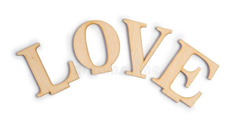 Drewniana list miłość, odosobniona ścinek maska na białym tle, odgórny widok, ilustracja dla valentine ` s dnia lub poślubiać, zdjęcia stock
