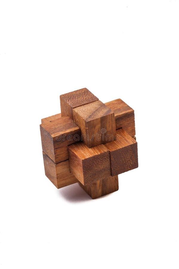Drewniana Móżdżkowa gra na Białym tle obraz stock