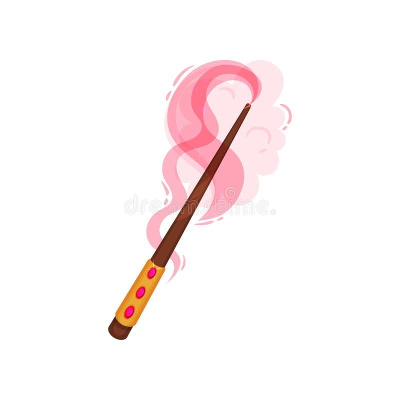 Drewniana magiczna różdżka dekorował z złotem i gemstones Kij z różową magiczną łuną Płaska wektorowa ikona ilustracja wektor