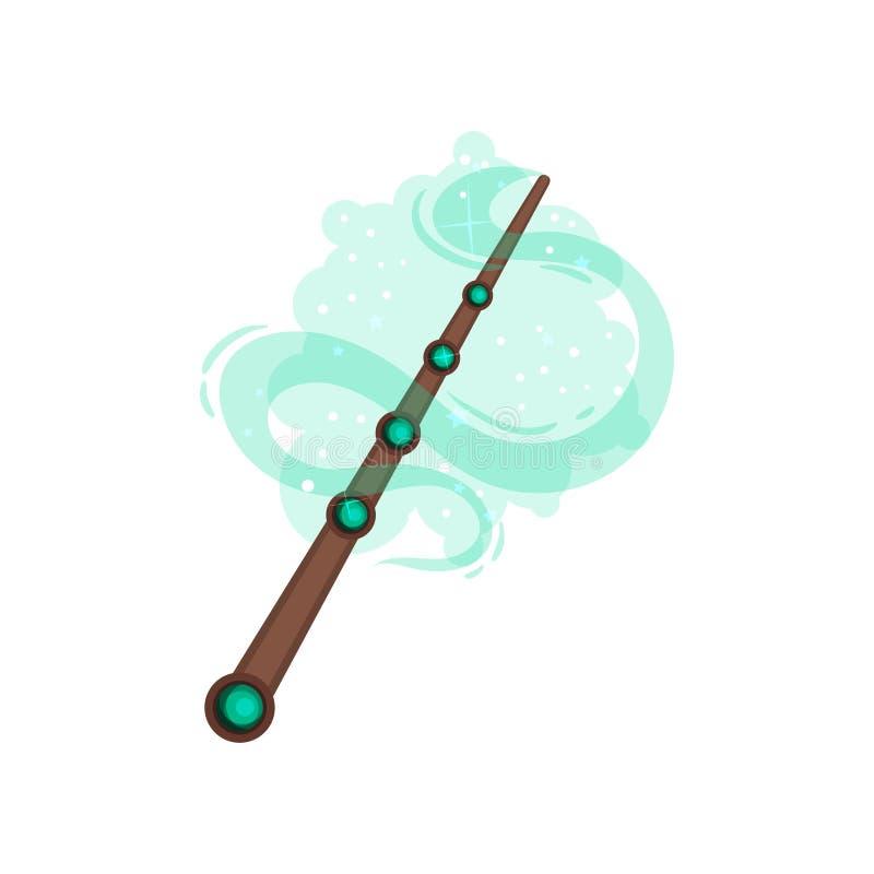 Drewniana magiczna różdżka dekorował z zielonymi cennymi kamieniami Narzędzie czarownik Płaski wektor dla fantazji wiszącej ozdob royalty ilustracja