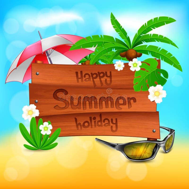 Drewniana nadmorski znaka deska, wakacje letni r?wnie? zwr?ci? corel ilustracji wektora royalty ilustracja
