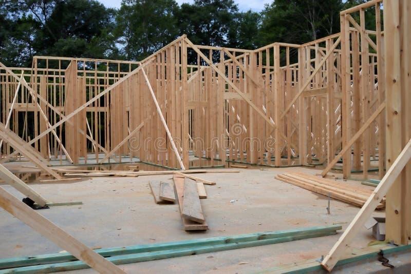 Drewniana Nowa Domowa otoczka zdjęcia stock
