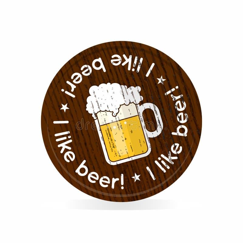 Drewniana odznaka dla piwnych fan royalty ilustracja