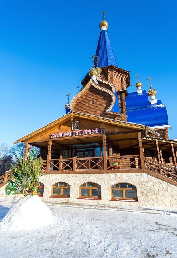 Drewniana ortodoksyjna świątynia ikona Święta matka Tendern obraz royalty free