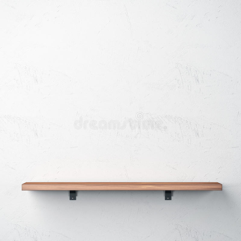 Drewniana półka na biel ścianie ilustracji