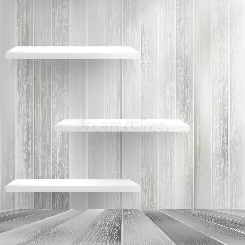 Drewniana półka na drewnianym tle. + EPS10 royalty ilustracja