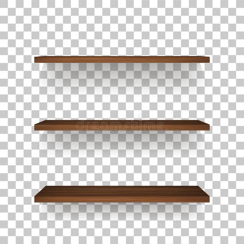 Drewniana półka na przejrzystym tle z miękkim cieniem ilustracji
