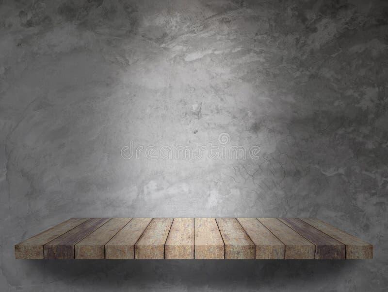 Drewniana półka z cement ściany teksturą obrazy stock
