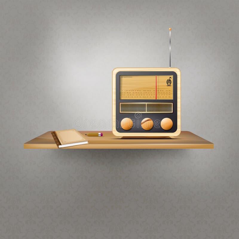 Drewniana półka z rocznika radiem, książką i ołówkiem ilustracja wektor