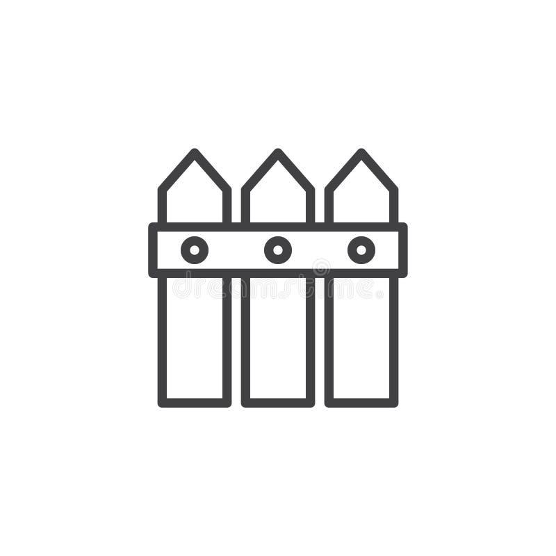 Drewniana płotowej linii ikona royalty ilustracja
