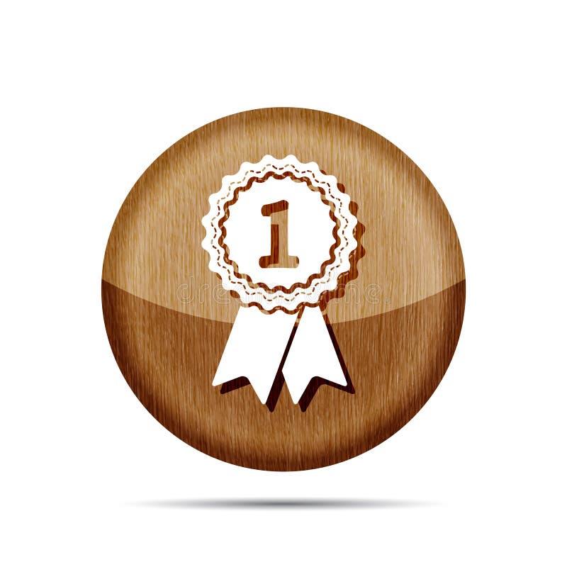 Drewniana pierwszy miejsce nagrody odznaka z faborek ikoną ilustracja wektor