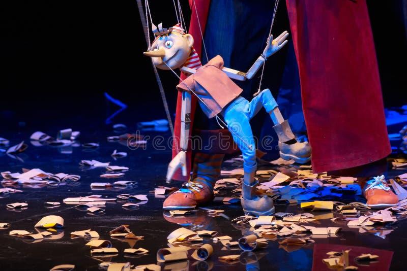 Drewniana Pinocchio lala chodzi wokoło trociny zdjęcie stock