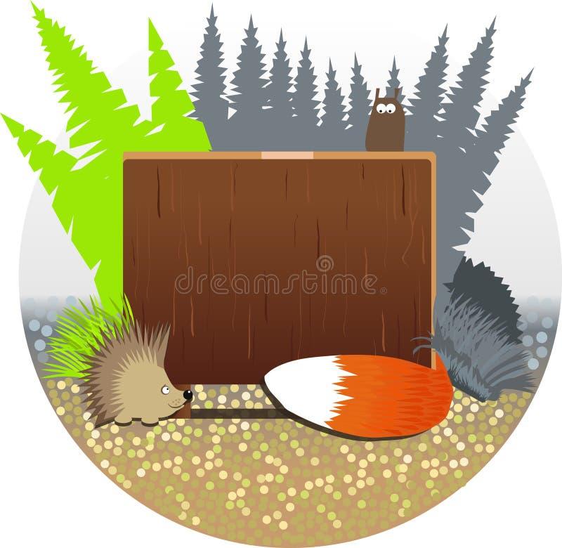 Drewniana plakieta i bestie las ilustracji