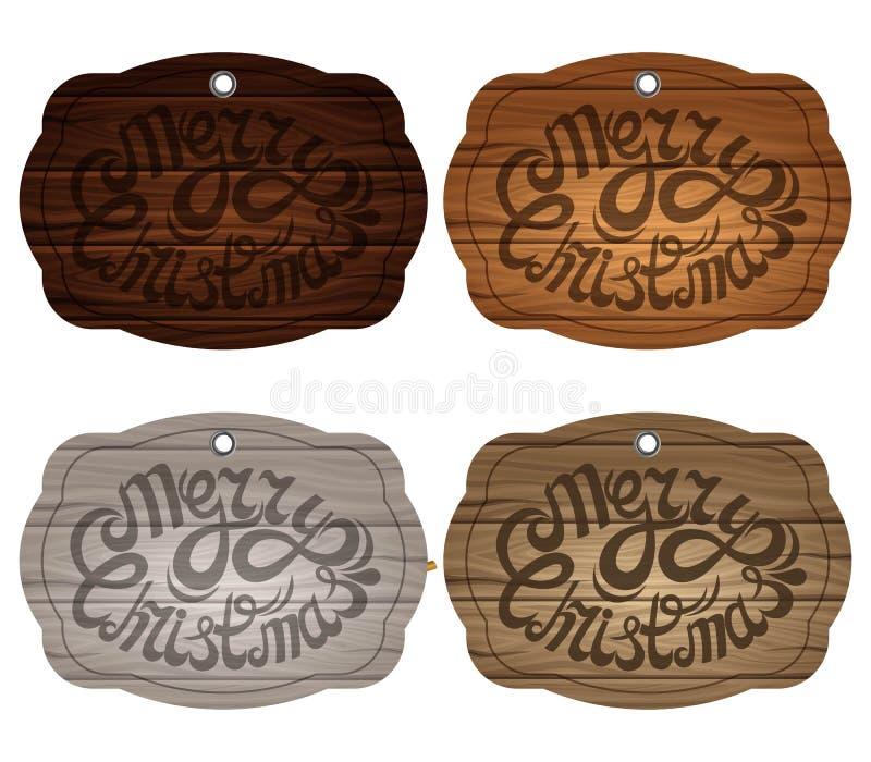 Drewniana plakieta na tle, odizolowywającym List na tle drewniane deski w różnych kolorach również zwrócić corel ilustracji wekto ilustracji