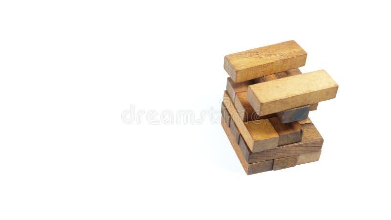 Drewniana plakieta, wierza plakiety, gra planszowa, odizolowywająca na białym tle zdjęcie stock