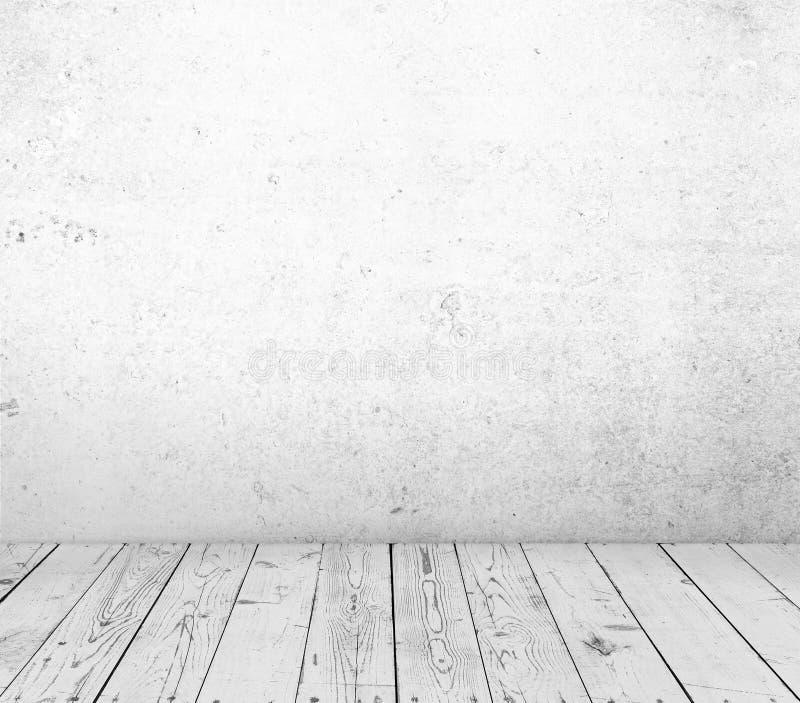 Drewniana podłoga i betonowa ściana zdjęcie stock