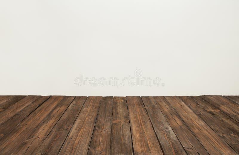 Drewniana podłoga, stara drewniana deska, brown deskowego pokoju wnętrze zdjęcia stock