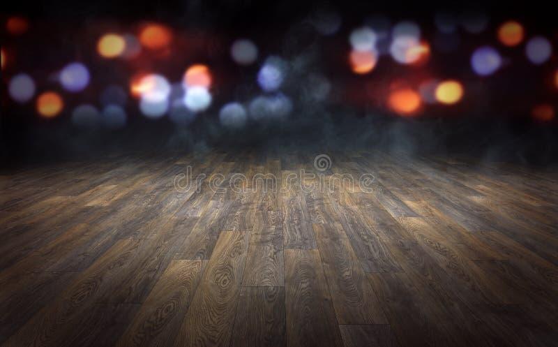 Drewniana podłoga z abstraktem zamazującym zaświeca tło 3D renderi ilustracja wektor
