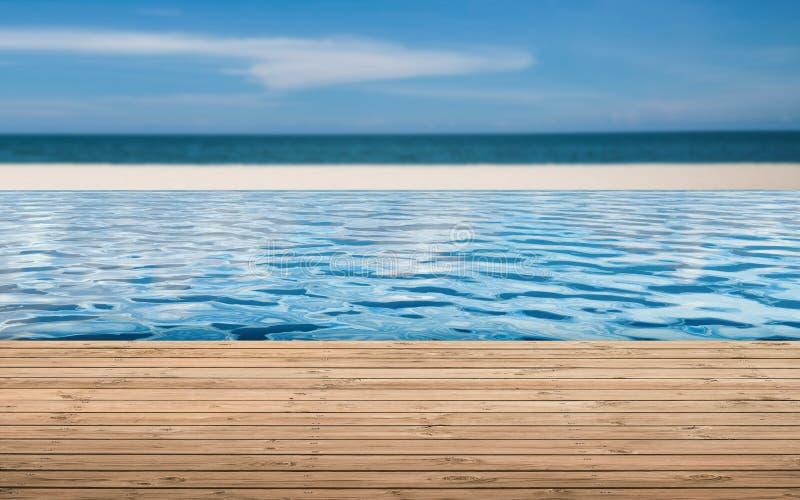 Drewniana podłoga z nieskończoność basenem zdjęcia royalty free