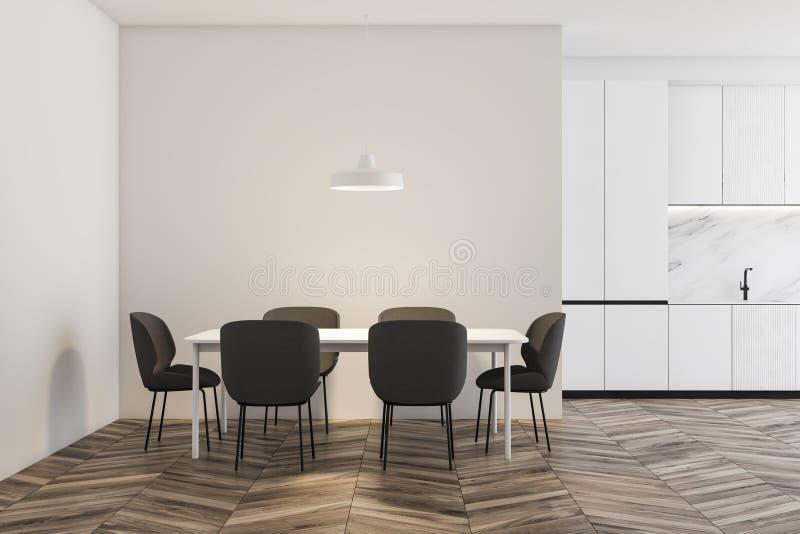 Drewniana podłogowa biała kuchnia z stołem ilustracja wektor