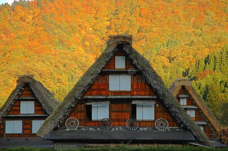 Drewniana pokrywająca strzechą dom wiejski jesień fotografia royalty free
