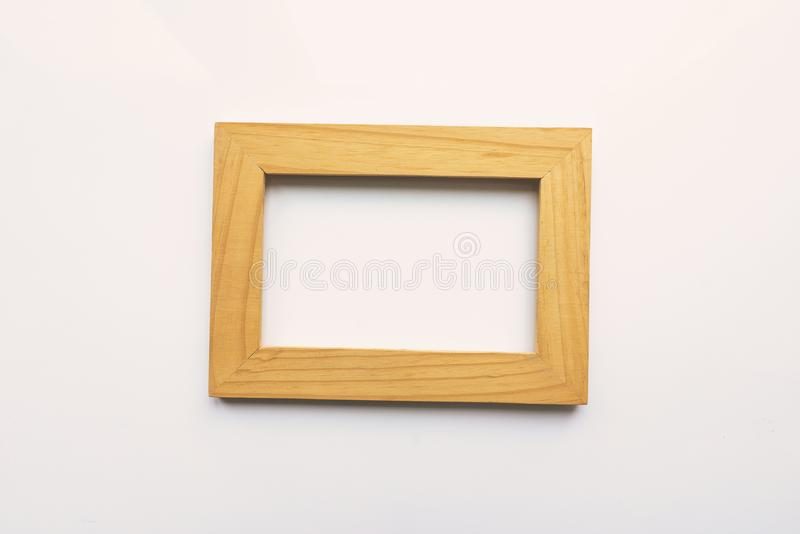 Drewniana prostokątna fotografii rama na białym tle Zakończenie Odgórny widok Nikt, pusty ilustracji