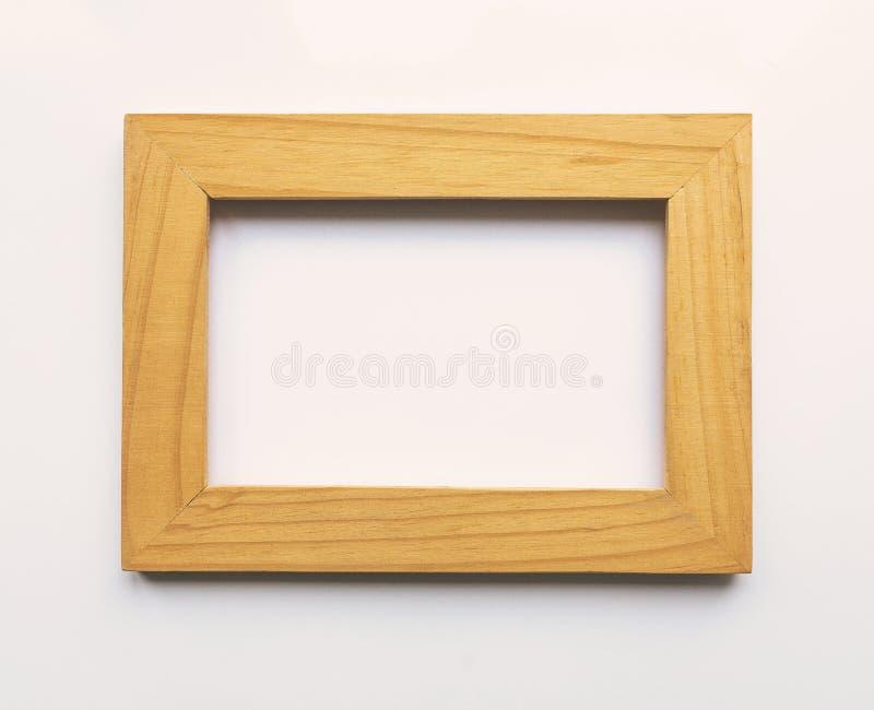 Drewniana prostokątna fotografii rama na białym tle Zakończenie Odgórny widok Nikt, pusty ilustracja wektor