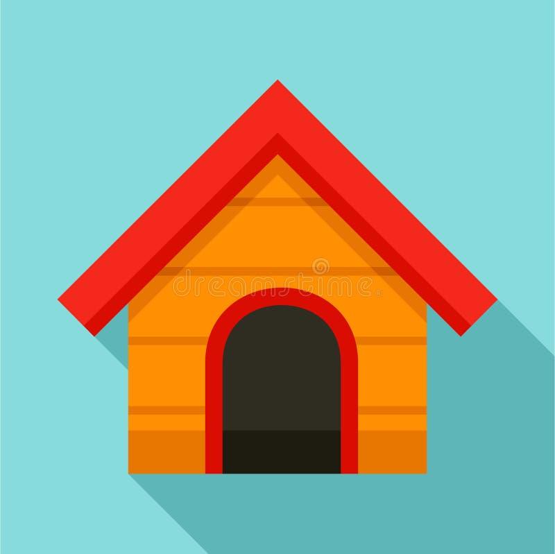 Drewniana psiego domu ikona, mieszkanie styl ilustracja wektor