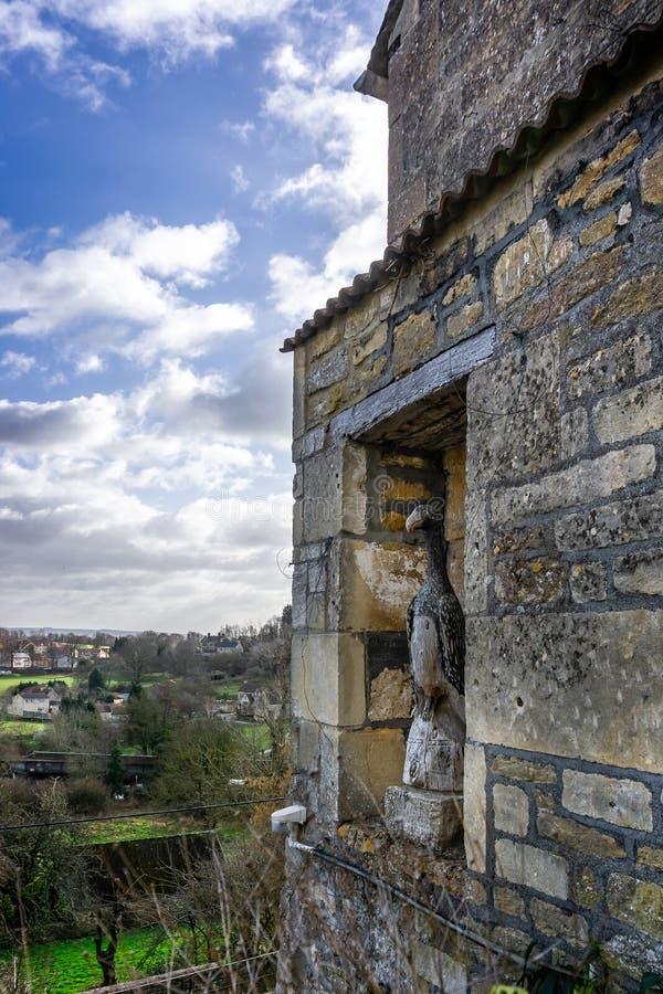 Drewniana ptasia statua w alkierzu w ściennym przegapia miasteczku Bradford na Avon, Wiltshire, UK zdjęcie royalty free
